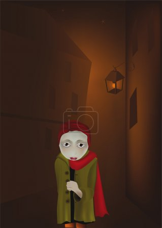 Illustration for Lantern and the lonely girl in a dark city - Royalty Free Image