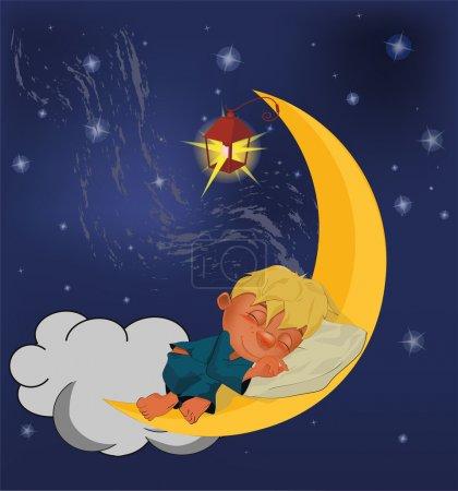 The sleeping boy on the moon