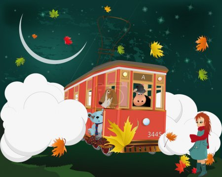 Illustration for Fantastic tram with toys - Royalty Free Image