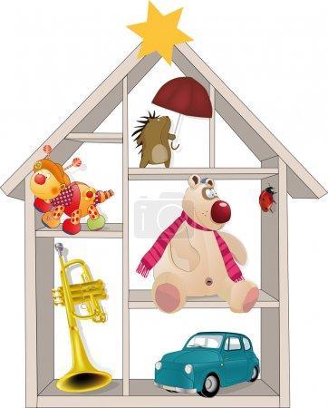 Illustration pour Jouet petite maison appartement architecture - image libre de droit