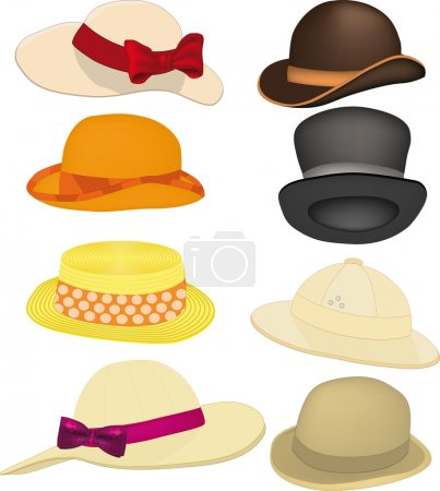 Illustration for Complete set of hats, headdresses clothing accessory - Royalty Free Image