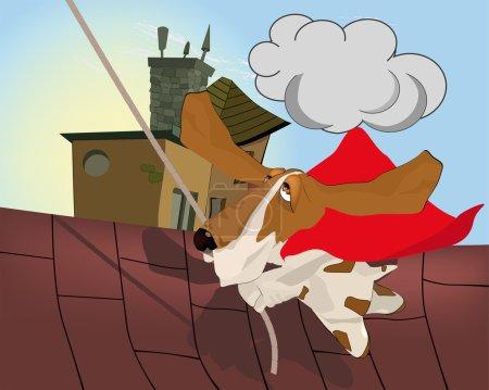 Illustration pour Chien le combattant avec des animaux nuisibles chien humour - image libre de droit