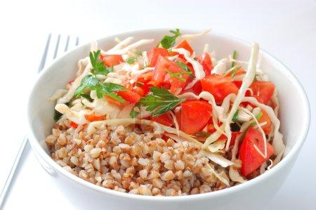 Boiled buckwheat with salad