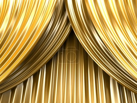 Gold theater curtain