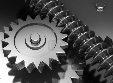 Photo for Interlocking industrial metal gears background - Royalty Free Image