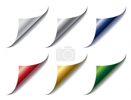 Illustration for Set of bent different colors page corners - Royalty Free Image