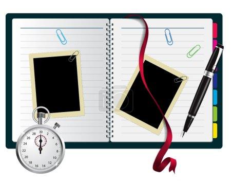 Stopwatch, paperclips, notebook