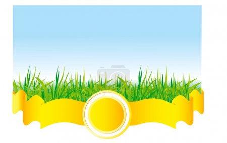 Illustration for Green grass with yellow ribbon - Royalty Free Image