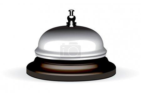 Illustration pour Vieille cloche d'hôtel sur un stand en bois illustration vectorielle - image libre de droit