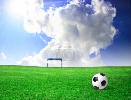 Foto de Balón de fútbol sobre césped - Imagen libre de derechos