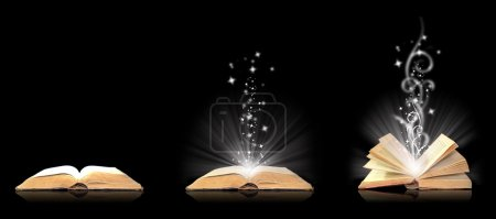 Photo for Open book magic on black - Royalty Free Image