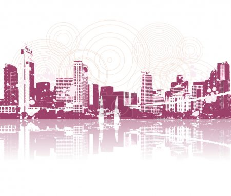 Illustration for Cityscape silhouette black for your design - Royalty Free Image