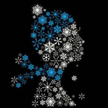 Stylized woman head, snowflakes.