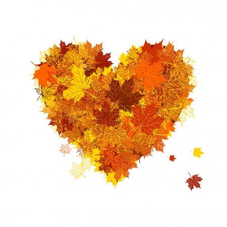 Illustration for Autumn love, heart shape, leaf - Royalty Free Image