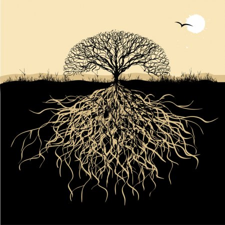 Photo for Tree silhouette with roots - Royalty Free Image