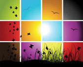Times of day sunset on meadow mosaic background for your design