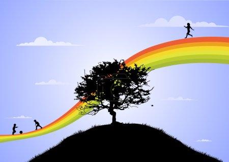 Photo pour Enfants heureux jouant sur l'arc-en-ciel - image libre de droit