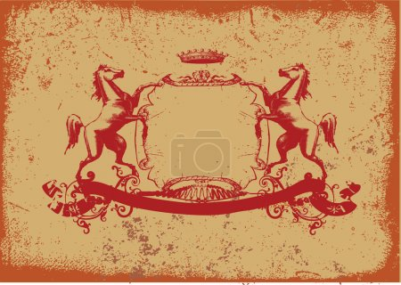 Photo for An heraldic shield or badge with stylized horse on it. Grunge background. - Royalty Free Image