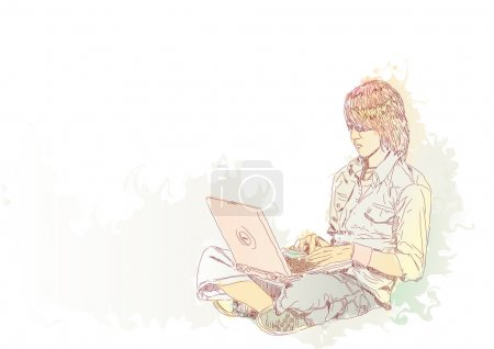 Photo for Young guy sitting on the floor with his laptop. - Royalty Free Image