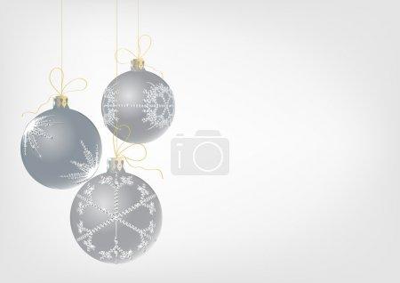 Photo pour Illustration de trois boules de Noël décorée de flocon de neige - image libre de droit