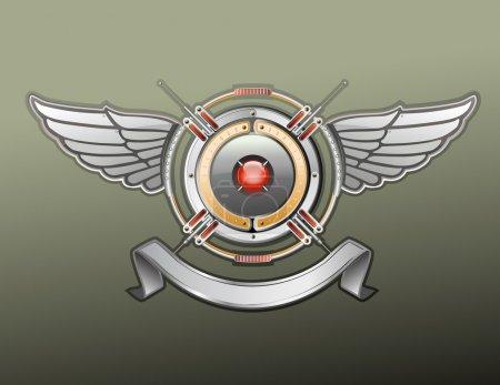 Photo pour Un badge avec bannière, vide, vous pouvez ajouter votre propre texte ou logo héraldique. - image libre de droit