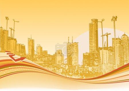 Foto de Ilustración de la gran ciudad. fondo naranja urbano con composición abstracta de puntos y líneas curvas. - Imagen libre de derechos