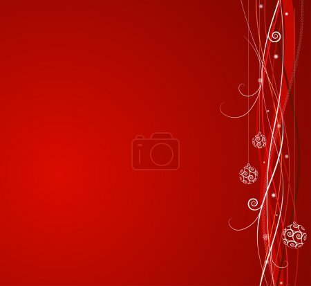 Photo for Red Christmas background: composition of curved lines and snowflakes - great for backgrounds, or layering over other images - Royalty Free Image