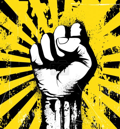Illustration for Vector illustration of clenched fist held high in protest on the yellow grunge urban background - Royalty Free Image
