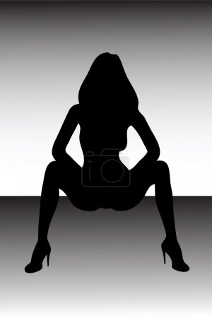 Vector silhouette of a beautiful woman.