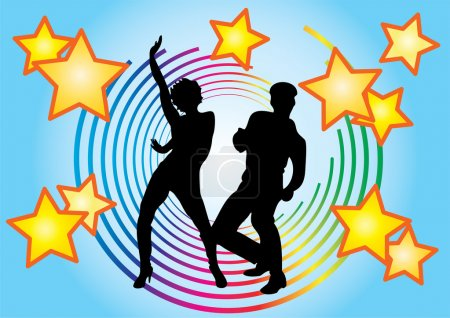 Illustration for The dancing couple and colored circles on a blue background. - Royalty Free Image