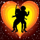Silhouette of couples dancing