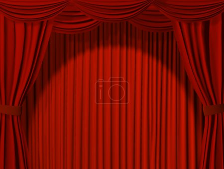 Photo for Theatrical curtain of red color - Royalty Free Image