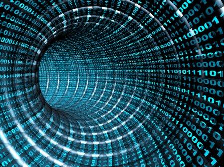 Photo pour Concept Internet - tunnel bleu abstrait 3d - image libre de droit