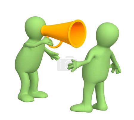 Photo for 3d puppet with an orange megaphone - Royalty Free Image
