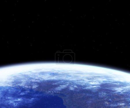 Photo pour Genre de la terre depuis l'espace, sur un fond noir - image libre de droit