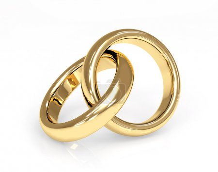 Photo for Two 3d gold wedding ring. Objects over white - Royalty Free Image