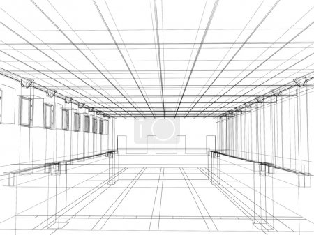 Photo for 3d abstract sketch of an interior of a public building - Royalty Free Image