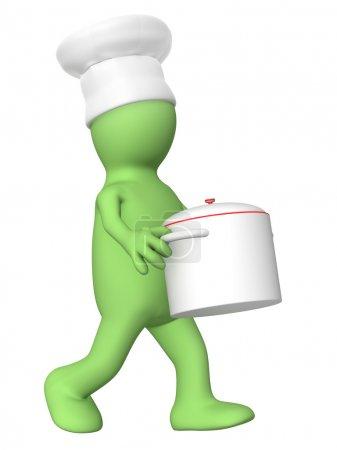 Photo pour Marionnette 3d - chef, casserole de transport - image libre de droit