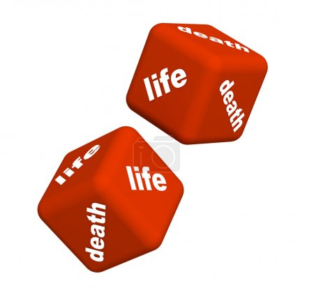 Photo for Playing cubes with an inscription life and death - Royalty Free Image