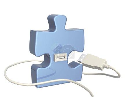 Foto de Cable USB y parte del rompecabezas - Imagen libre de derechos
