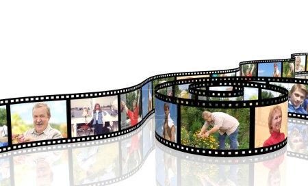 Photo pour Photos de famille sur pellicule - sur blanc - image libre de droit
