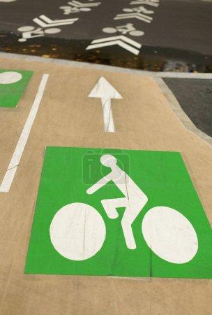 Bicycle road signs painted on asphalt