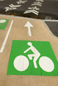 Bicycle road signs painted on asphalt