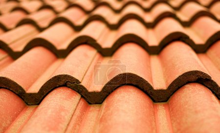 Closeup of red tile roof