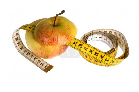 Photo for Apple with meter on white background - Royalty Free Image