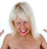 Expresivní žena na bílém pozadí