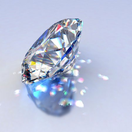 Photo for Diamond jewel with reflections on blue background - Royalty Free Image