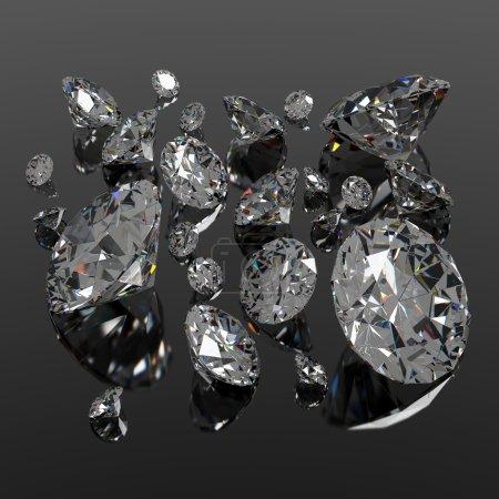 Photo pour Bijou diamants de différentes tailles sur la surface noire - image libre de droit
