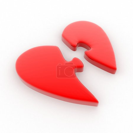 Red heart divided into two parts