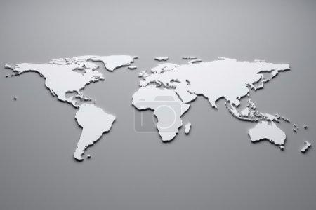 Photo pour Carte du monde blanc. illustration 3D. - image libre de droit